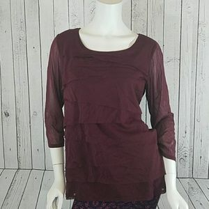 Maroon Layered Blouse Size 0X New